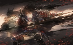 Picture girl, weapons, anime, warrior, art, armor, sayuki
