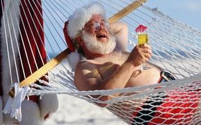 Wallpaper Santa Claus, hammock, cocktail