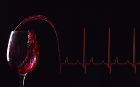 Picture wine, lines, glass of wine, electrocardiogram