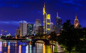 Picture night, the city, Germany, skyscrapers, Frankfurt am Main