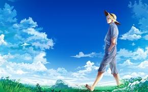 Picture the sky, clouds, hat, meadow, guy, Gintama, Gintama, Sakata Gintoki