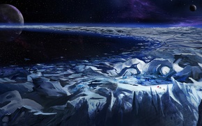 Wallpaper ice, space, stars, nebula, planet, glacier, ring, travelers