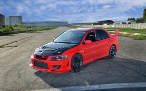 Picture red, the hood, red, mitsubishi, Lancer, evolution, Mitsubishi, lancer evolution, carbon fiber