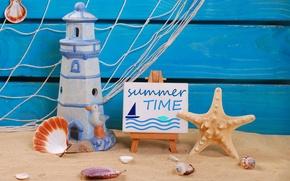 Picture sand, beach, summer, stay, lighthouse, shell, summer, beach, sand, marine, still life, vacation
