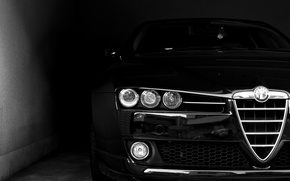Wallpaper face, black, lights, Alfa Romeo