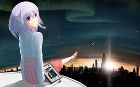 Picture girl, the sun, stars, sunset, night, the city, lights, home, anime, art, tablet, riki-to, Illia