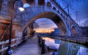 Picture bridge, lantern, channel, USA, Evening, Philadelphia, Bridges, Rivers