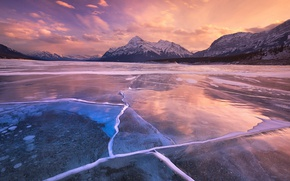 Picture ice, Canada, sky, landscape, nature, cloud, mountains, lake, tree, cold, Abraham Lake, kumo, frozen lake, …