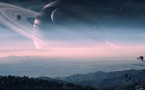 Picture stars, hills, landscape, planet, ring, art, haze, satellites, QAuZ