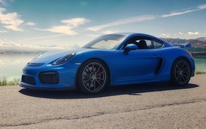 Picture porsche, blue, cayman, gt4