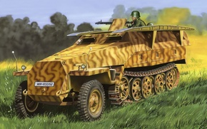 Picture figure, art, Sonderkraftfahrzeug 251, German medium half-track armored personnel carrier, Sd Kfz 251 Ausf D