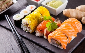 Picture greens, sushi, rolls, filling, Japanese cuisine