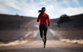 Picture road, sport, Girl, running, activity, training