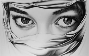 Picture eyes, girl, art