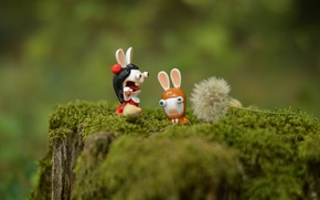 Wallpaper toys, stump, rabbits, moss, macro