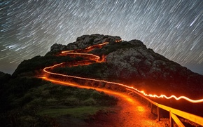 Picture road, the sky, night, lights, lights, rock, darkness, mountain, road, night, darkness, Starfall, shooting stars, …