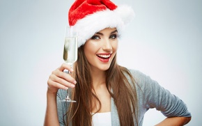 Picture girl, woman, new year, girl, champagne, hat, woman, cup, santa claus, champagne, Santa Claus, wishes, …