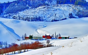 Picture winter, snow, mountains, home, slope