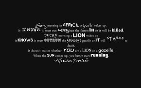 Picture letters, minimalism, Leo, words, phrase, the conditions of survival, African proverb, Gazelle, laws