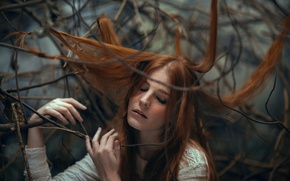 Picture girl, branches, hair, freckles