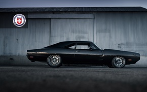 Picture 1971, Dodge, Black, Charger, with, HRE, Brushed, Tantrum, S104