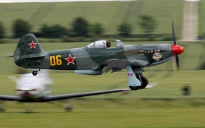 Picture the sky, fighter, the rise, Soviet, single-engine, WWII, YAK-9УМ
