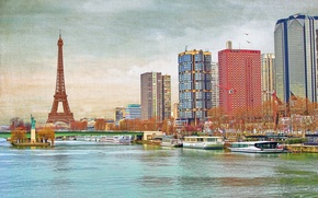 Picture the sky, bridge, river, France, Paris, tower, home, Hay, canvas, the statue of Liberty