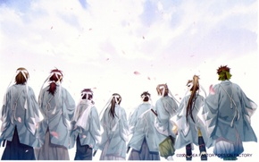 Picture the sky, back, headband, cloak, squad, samurai, Okita Souji, Saitou Hajime, Hakuouki Shinsengumi Kitano, Hijikata …