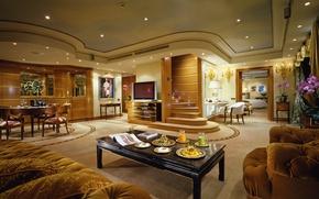 Wallpaper room, chandelier, interior, table, ladder, apartment, penthouse, expensive, Wallpaper, Suite, sofas, TV, penthouse, wallpaper