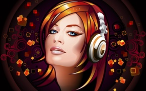 Picture eyes, look, girl, music, hair, haircut, vector, headphones, Strelki