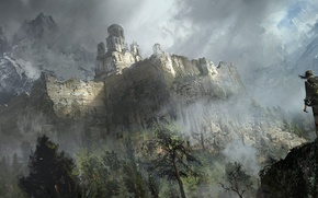 Picture Mountains, Game, Lara Croft, Art, Game, Lara Croft, Rise of the Tomb Raider