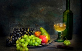 Picture bottle, knife, fruit, still life, white wine, Sweet wine flows