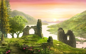 Picture forest, flowers, river, castle, hills, tower, art, ruins