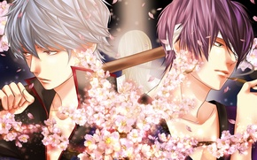 Picture flowers, smoke, art, guys, bandages, gintama, sakata gintoki, takasugi shinsuke, momota, yoshida shouyou