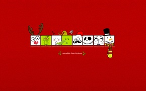 Wallpaper squares, holiday, new year, minimalism, deer, snowman, new year, red background, holiday, how the Grinch ...