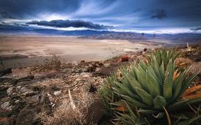 Picture desert, storm, Anza-Borrego, dry lake, mountain chain, southern California