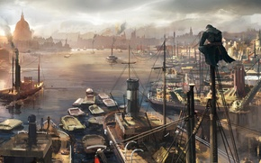 Picture sea, the city, port, Assassin's Creed: Syndicate