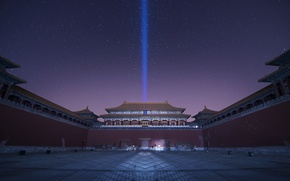 Wallpaper the sky, stars, night, China, purple, lilac, Beijing, the Palace complex, Forbidden City