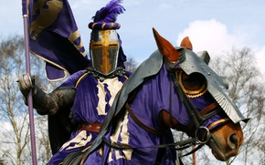 Wallpaper armor, horse, warrior, knight, coat of arms, the, club, military, purple, banner, horse, knight, historical, ...