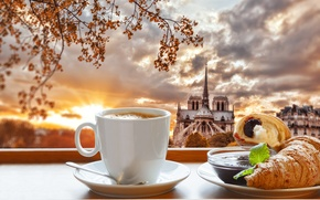 Picture cathedral, cup, croissant, Breakfast, Notre Dame, France, Paris, coffee, breakfast, coffee, Paris, Our Lady, growing, ...