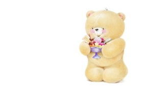 Picture smile, mood, art, bear, ice cream, yummy, children's, Forever Friends Deckchair bear