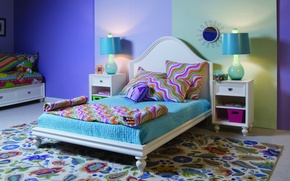 Picture room, interior, wallpapers, apartment, bed, Wallpaper, pattern, bright, carpet, thumbs, background, lamp, color, pillow, mirror, ...