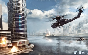Picture helicopter, Siege on Shanghai, skyscraper, Battlefield 4