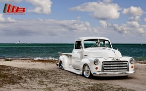 Picture white, beach, the sky, clouds, retro, shore, tuning, pickup, tuning, the front, GMC, C152, Lowrider, ...