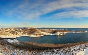 Wallpaper sea, panorama, winter, snow, hills