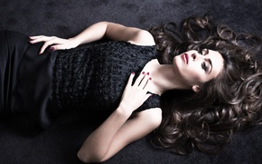 Picture look, girl, face, hair, hands, lies, black dress, curls