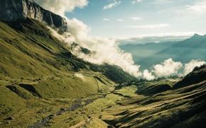 Picture clouds, landscape, mountains, gorge