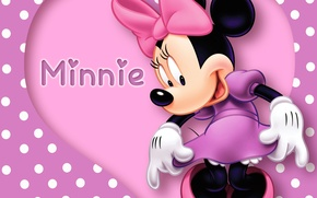 Picture heart, pink, cartoon, disney, purple, mouse, polka dots, minnie