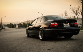 Picture road, lights, tuning, BMW, black, bbs, stance, bmw e39