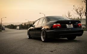 Wallpaper road, lights, tuning, BMW, black, bbs, stance, bmw e39